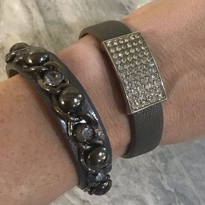 Jewelry - 2 Gray Genuine Leather Cuff Bracelets